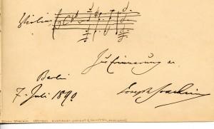 Joachim composition autograph